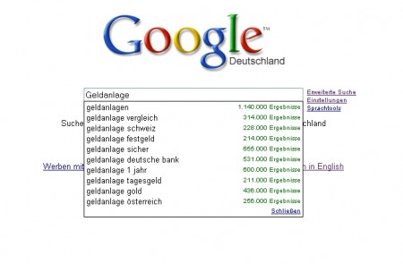 Google.de mit Google Search Suggest